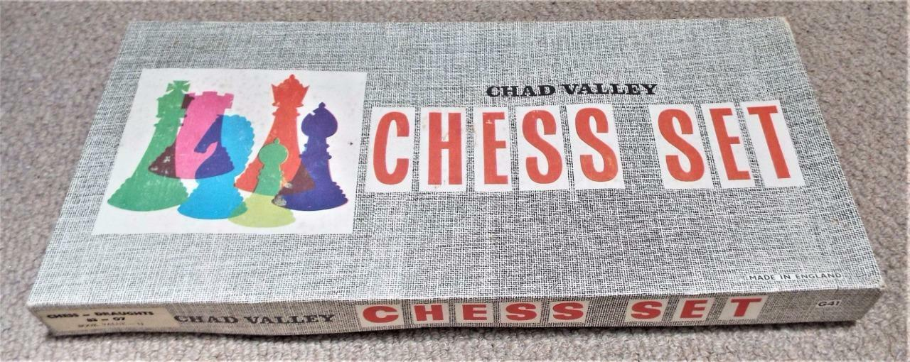 Vintage 1960's Boxed Chad Valley Chess Set with Board