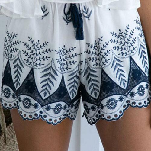 REGNO Unito da donna estivo pizzo ricamo Pantaloni Corti Pantaloncini Cotone Casual Bohemien Pantaloni