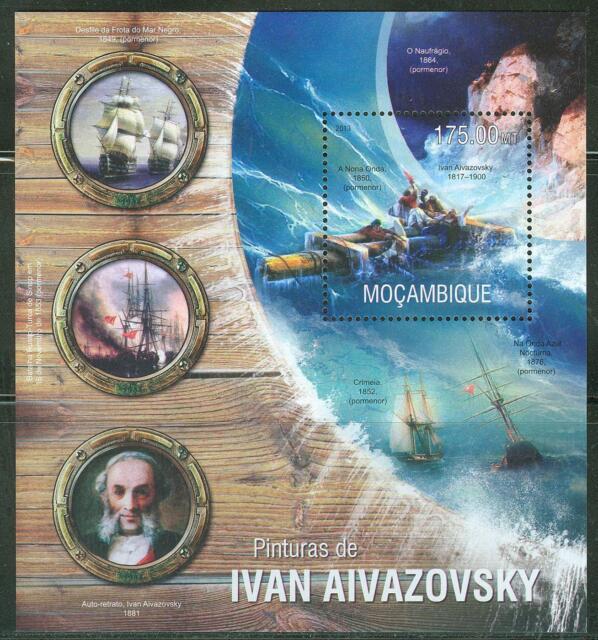 MOZAMBIQUE 2013 SAILBOAT PAINTINGS OF IVAN AIVAZOVSKY  SOUVENIR SHEET  NH