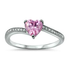 .925 Sterling Silver Ring size 4 CZ Heart cut Pink Midi Baby Kids Ladies New x46
