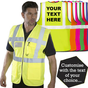Personalised Custom Printed Hi Vis Colour Executive Vest Zip Phone & ID Pockets