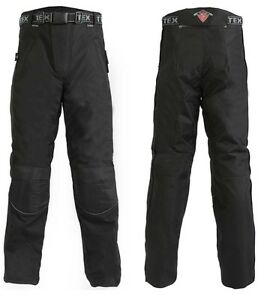 Mens-Black-Armoured-Waterproof-Motorcycle-Motorbike-Over-Trousers-Full-Zip