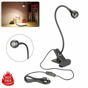 USB-Flexible-Reading-LED-Light-Clip-on-Beside-Desk-Table-Lamp-Book-Lamp-Black-US