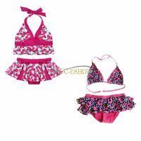 GIRLS KIDS FLORAL FLOWER BIKINI SWIMSUIT SWIMMING / SWIM COSTUME AGES 2-8 YEARS