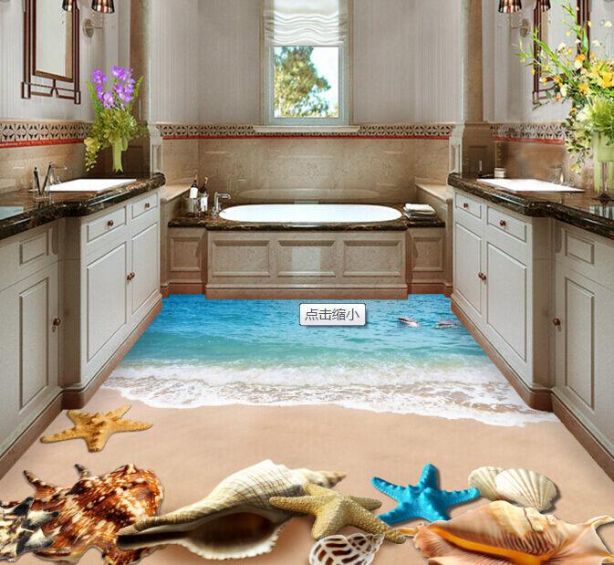 3D Sea Starfish Shell 1 Floor WallPaper Murals Wall Print Decal 5D AJ WALLPAPER