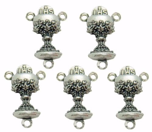 MRT Lot of 5 First Holy Communion Silver Tone Rosary Centerpiece Chalice 0.65""