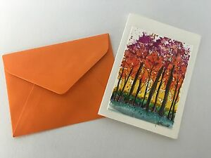 Hand Painted Greeting Card WATERCOLOR Thank You Fall Birthday Colorful Nature