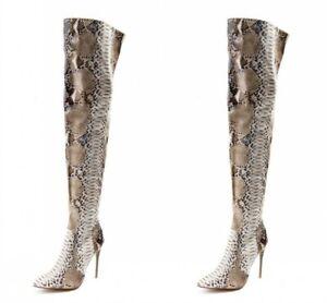 Fashion Women Stiletto High Heels Thigh High Boots Snakeskin Grain Pointed Toe