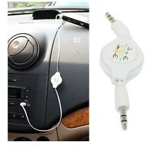 High Quality Retractable Double End 3.5mm Jack Male Car Audio Aux Cable MP3 iPod