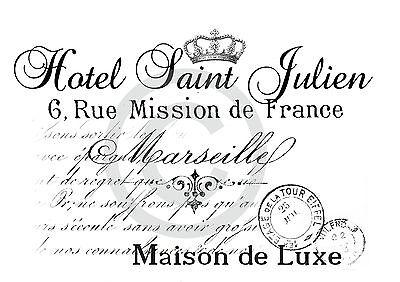 *Bügelbild XL**Shabby*Hotel St.Julien*Dekoration*Bügeltransfer***Vintage*France*