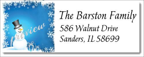 CHRISTMAS SNOWMAN DESIGN #220 RETURN ADDRESS LABELS GLOSSY OR MATTE