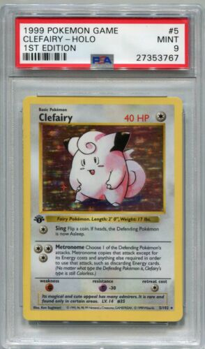 Pokemon Card 1st Edition Shadowless Clefairy Base Set 5102, PSA 9 Mint