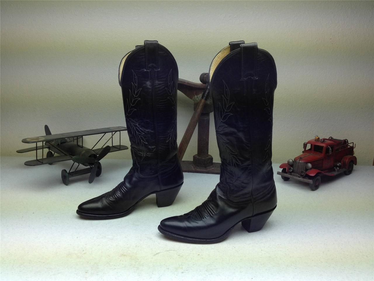 BLACK MINTY JUSTIN STYLE 4814 COUNTRY WESTERN DANCE RODEO RIDER BOOTS SIZE 5 B