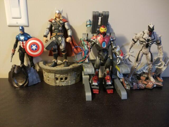 Marvel Select lot of 4 Ultimate Iron Man, Captain America, Anti-Venom & Thor