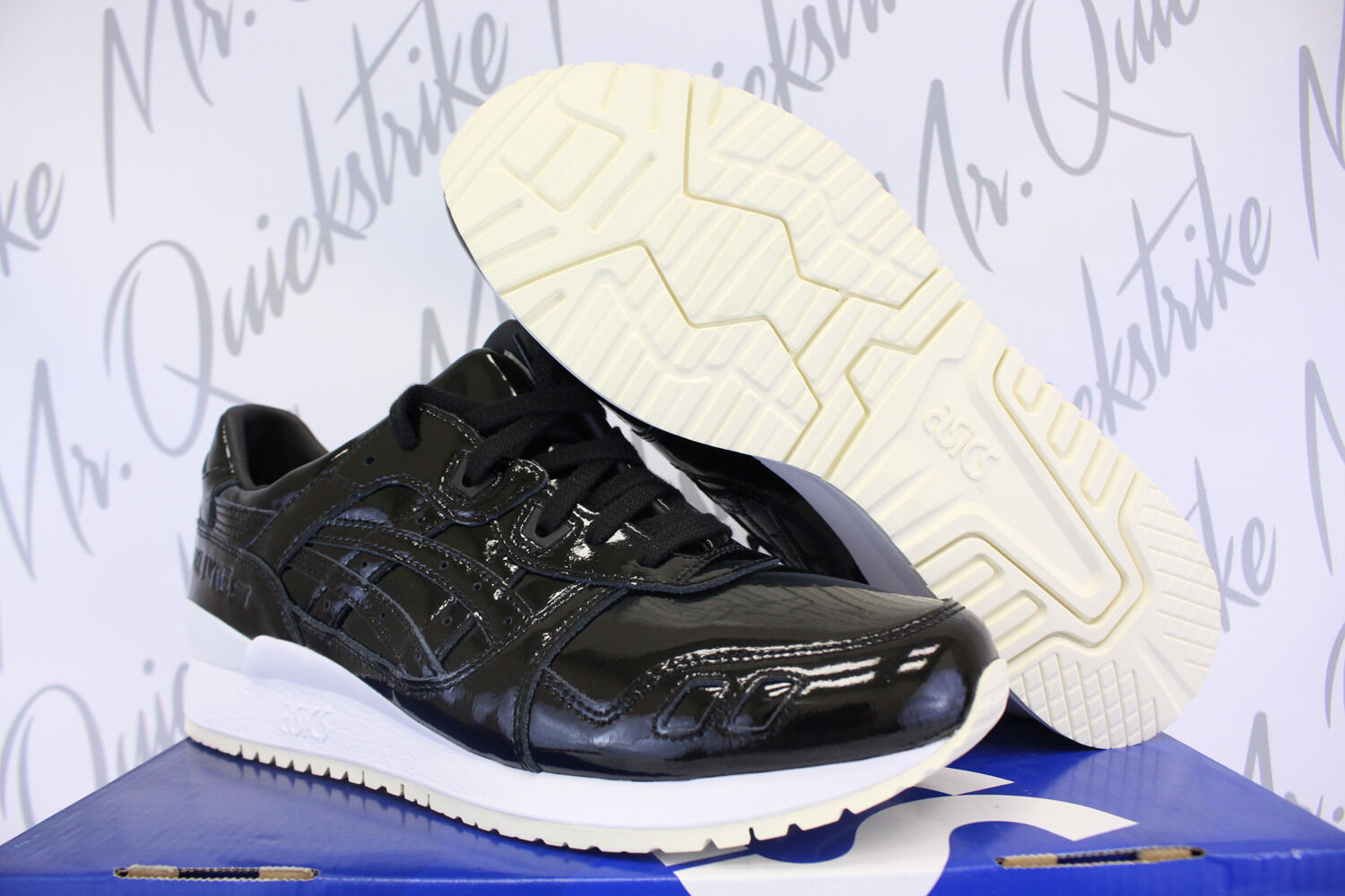 ASICS GEL LYTE LEATHER III 3 SZ 8.5 BLACK PATENT LEATHER LYTE H7H1L 9090 f493e0