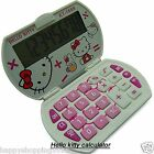 New Cute White Hello Kitty Foldable Pocket Basic Electronic Calculator 8 Digital