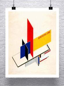 Détails sur Américain Ligne 1924 Vintage Bauhaus Herbert Bayer Affiche Toile Imprimé