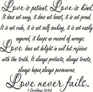 Xl 1 Corinthians 13 4 8 V2 Large Size Bible Verse Wall Decal Love Patient Ebay