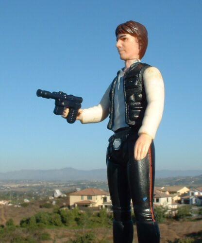 "NICE 1/"" Custom Noir Han Solo arme Blaster 1977 /& RETURN OF THE JEDI VINTAGE STAR WARS Flotteurs"