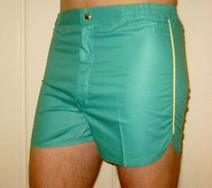 NEW-Vtg-70s-80s-Vanderbilt-GREEN-Striped-Mens-LARGE-Retro-TENNIS-Track-shorts-L