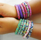 F948 Roll on Bracelet Glass Seed Beads Assorted Colors Handmade in Nepal 3 pcs