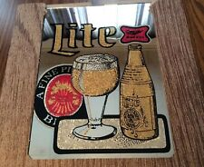 Vintage Carnival Glass Mirror Beer Sign  MILLER LITE  Collectible