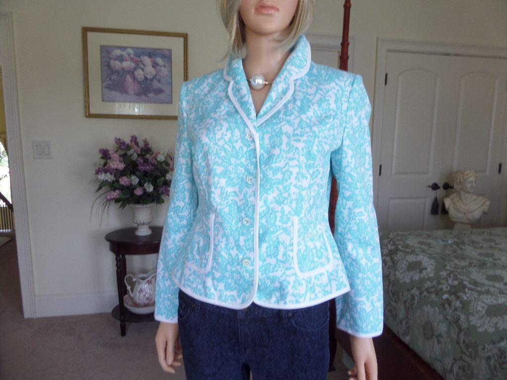 New Oscar De La Renta Light Turquoise Print Jewel Buttons Summer Blazer Size 10P