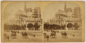 Parigi-Istantanea-Notre-Dame-Francia-Foto-Stereo-Vintage-Albumina-c1865