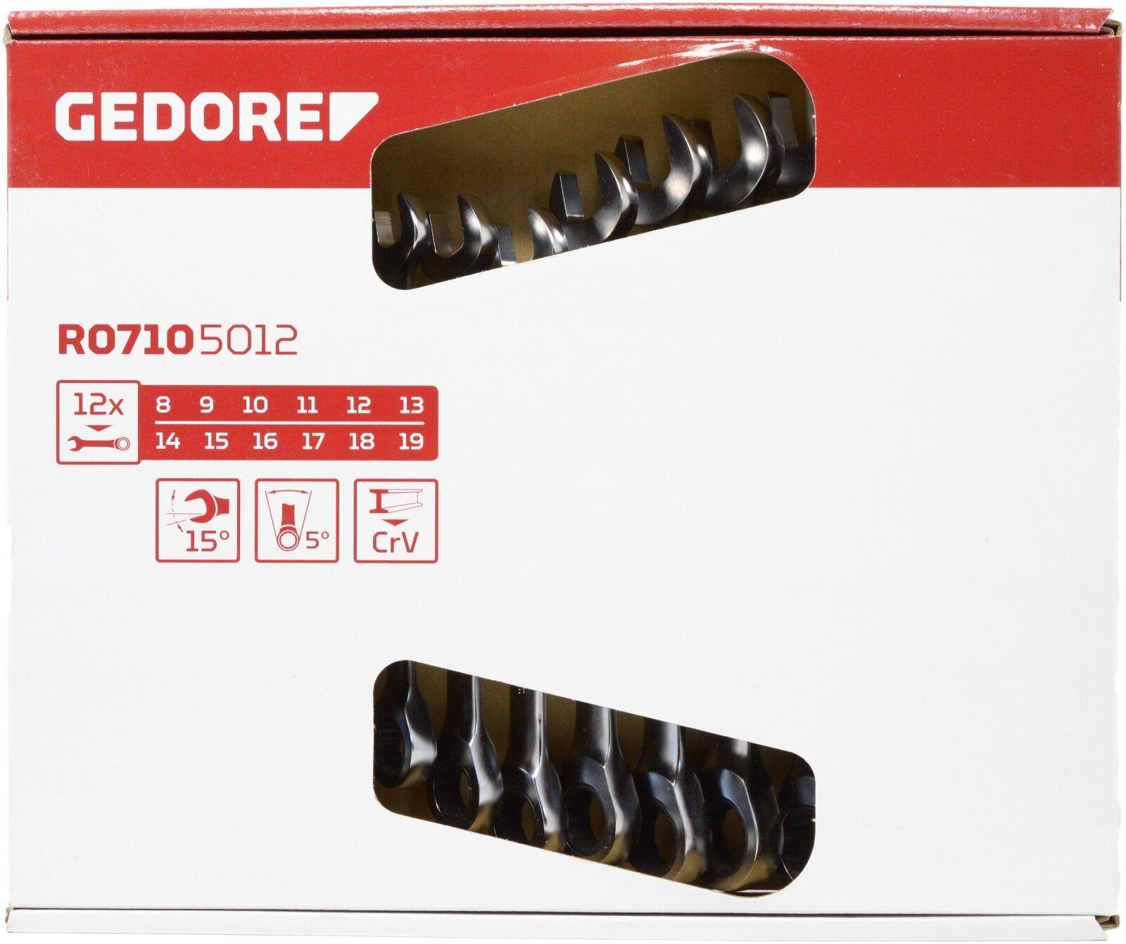 GEDORE R07105012 MAUL-RINGRATSCHENSCHLÜSSEL-SATZ 12-tlg.   8 - 19 mm