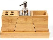 Woodluv cortesía Conjunto de 3 accesorios de baño Dispensador de Jabón de bambú para