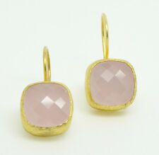 Ottomangems semi precious stone gold plated earrings Rose quartz handmade