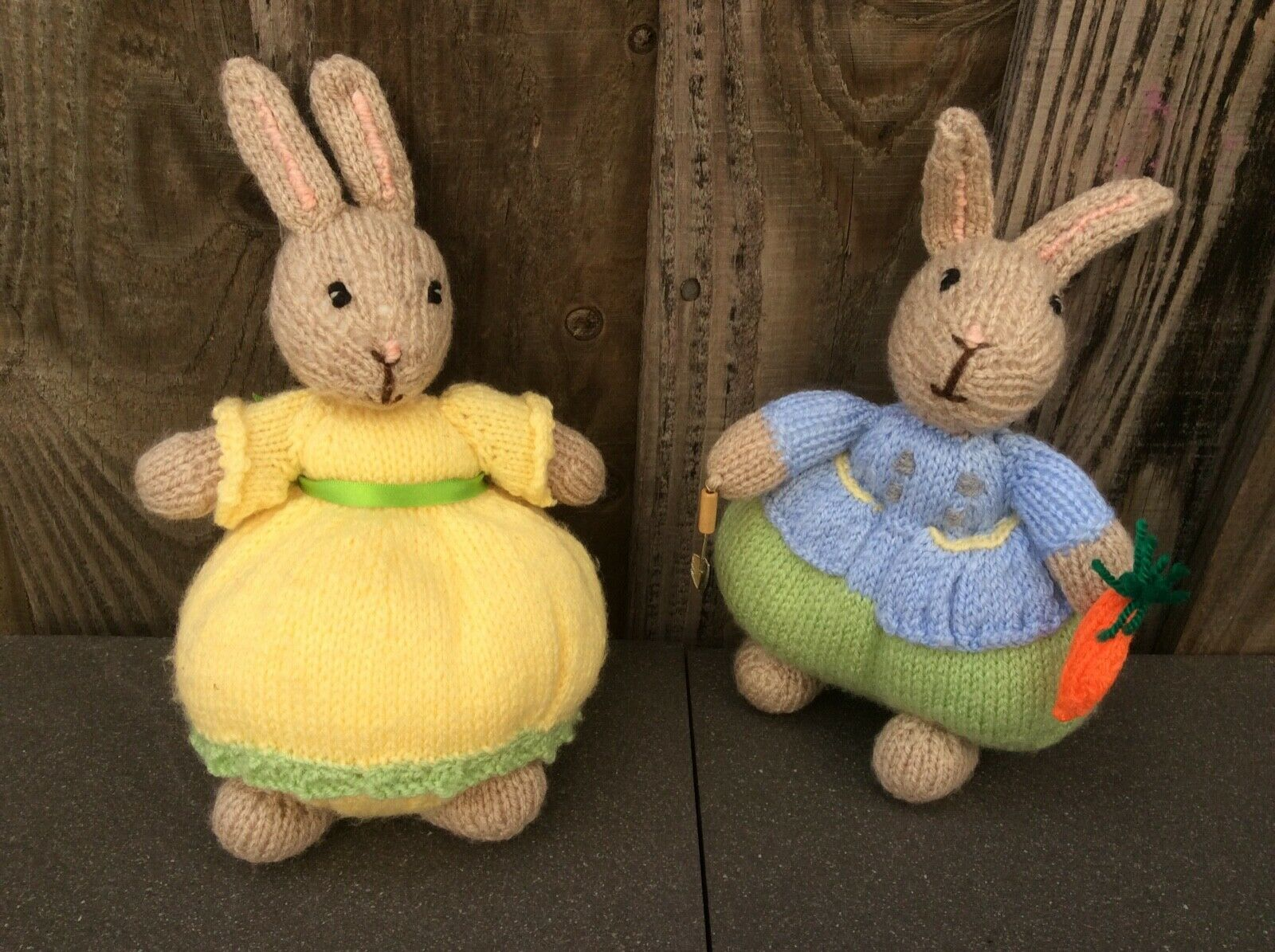 2 X HAND MADE KNITTED SMALL SOFT BODIED BUNNY RABBITS(ANIMALS) BOY & GIRL