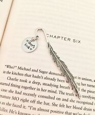 Personalized Metal Feather Bookmark Page Marker w/ name charm Hand stamped gift