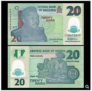 Nigeria Banknote 20 Naira 2018 Polymer (UNC) 全新 尼日利亚 20奈拉 塑料钞