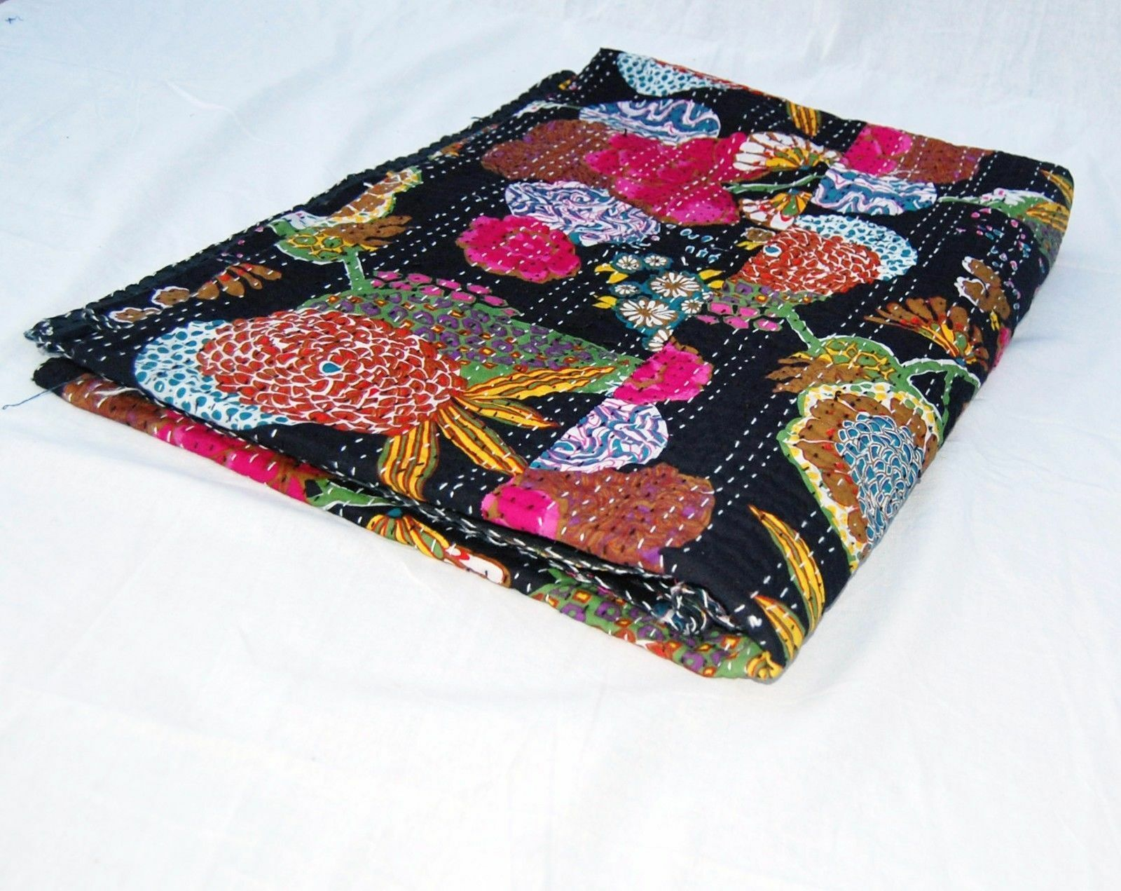Vintage Fruit Print Indian Kantha Quilt Single Blanket Throw For Christmas Gift