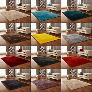 Image Is Loading New Modern Thick Soft Plain Silky Shag Pile