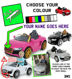 PERSONALISED Kids Number Plate S For ELECTRIC V Audi R Toy Car - Audi r8 6v car