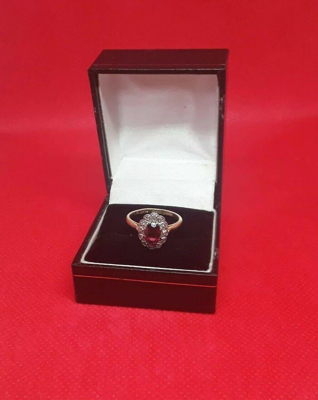 Granato retrò e anello di diamante simulate Taglia Taglia Taglia m.5 9 accento circonflesso design classico oro 97887c