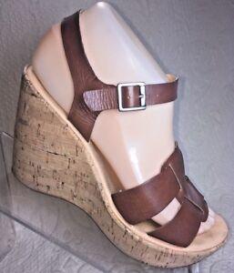 KORKS-Kork-Ease-Women-7-Brown-Sandal-DELLA-Platform-Wedge-Leather-Brown-Strappy