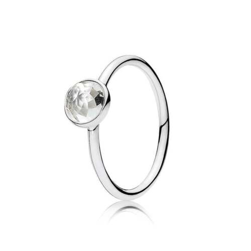 New! Authentic Pandora April Droplet Rock Crystal Ring #191012 Rc 48 (4.5) $45 by Pandora