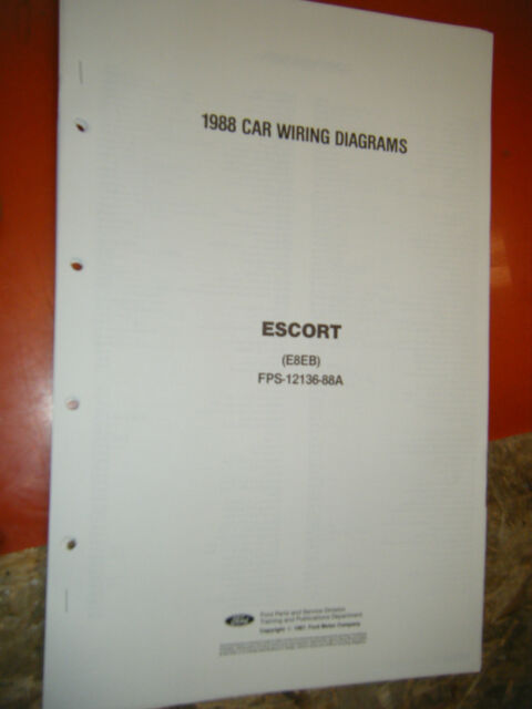 1988 Ford Escort Factory Wiring Diagrams Sheets Service