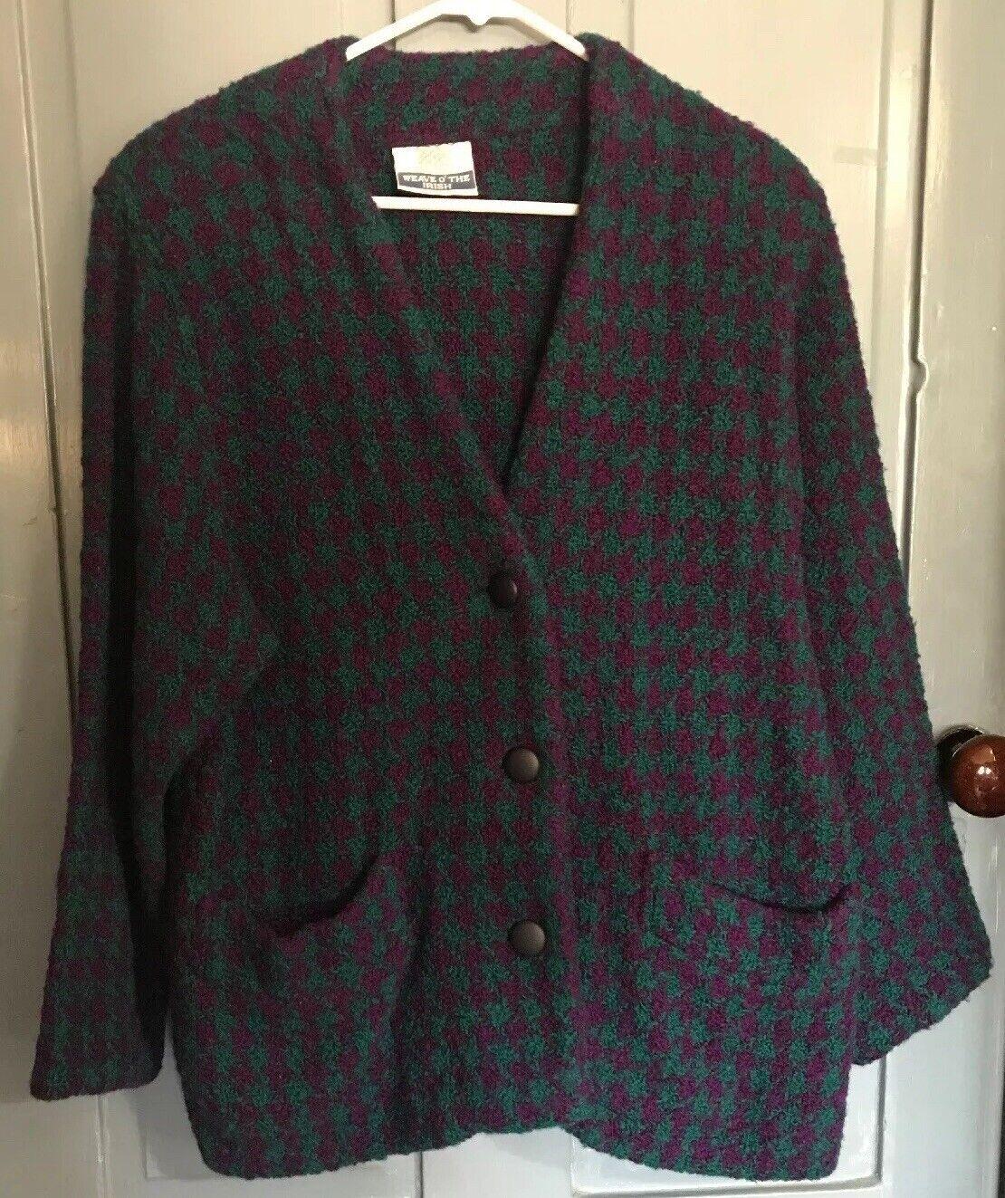 Weave O' The Irish Drogheda Ireland 100% Wool Purple Green Cardigan Sz M EUC