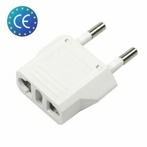 1x-Reise-Stecker-Adapter-US-USA-AU-EU-to-EU-Euro-Europe-Weiss
