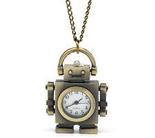 """1 Bronze Tone Necklace Quartz Robot Pocket Watch 85cm(33-1/2"""")"""