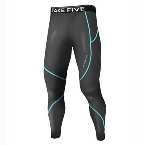 Take Five Mens Lined Skin Tight Compression Base Layer Running Pants Gray NP516