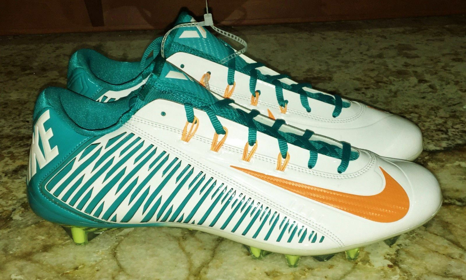 NIKE Vapor Carbon 2014 Elite TD PF White Aqua orange Football Cleats NEW Mens 14