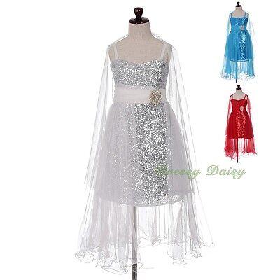 Diamante Sequins Wedding Flower Girl Party Formal Dresses w/ Shawl Sz 3-10 FG349