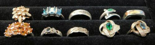 Lot of 10 Vintage Sterling 925 Cocktail Band Rings