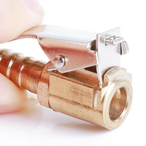 Brass Hose Barb Clip-On Ball Foot Air Chuck Tyre Inflator Gauge Fitting Tool G