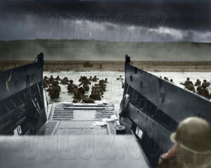 Details about D-Day Landings Omaha Beach US army wade ashore WW2 WWII Color  photo - 26-G-2343